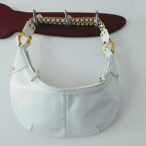 hype White Leather Shoulder Purse